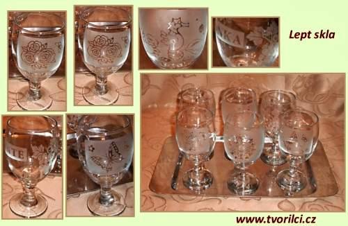 Ukázka leptání skla - leptaná sklenička