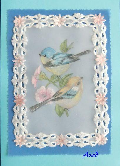 dva ptáci papír.krajka
